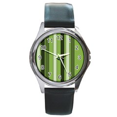 Greenery Stripes Pattern 8000 Vertical Stripe Shades Of Spring Green Color Round Metal Watch