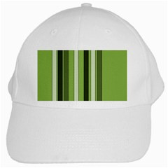 Greenery Stripes Pattern 8000 Vertical Stripe Shades Of Spring Green Color White Cap