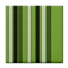 Greenery Stripes Pattern 8000 Vertical Stripe Shades Of Spring Green Color Tile Coasters