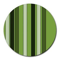 Greenery Stripes Pattern 8000 Vertical Stripe Shades Of Spring Green Color Round Mousepads
