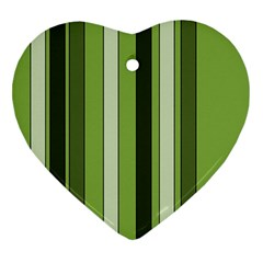 Greenery Stripes Pattern 8000 Vertical Stripe Shades Of Spring Green Color Ornament (Heart)