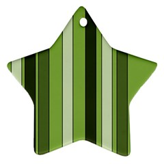 Greenery Stripes Pattern 8000 Vertical Stripe Shades Of Spring Green Color Ornament (Star)