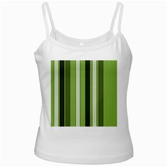Greenery Stripes Pattern 8000 Vertical Stripe Shades Of Spring Green Color White Spaghetti Tank