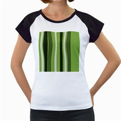 Greenery Stripes Pattern 8000 Vertical Stripe Shades Of Spring Green Color Women s Cap Sleeve T