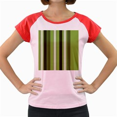 Greenery Stripes Pattern 8000 Vertical Stripe Shades Of Spring Green Color Women s Cap Sleeve T-Shirt