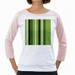 Greenery Stripes Pattern 8000 Vertical Stripe Shades Of Spring Green Color Girly Raglans