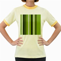 Greenery Stripes Pattern 8000 Vertical Stripe Shades Of Spring Green Color Women s Fitted Ringer T-Shirts