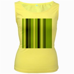 Greenery Stripes Pattern 8000 Vertical Stripe Shades Of Spring Green Color Women s Yellow Tank Top