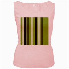 Greenery Stripes Pattern 8000 Vertical Stripe Shades Of Spring Green Color Women s Pink Tank Top