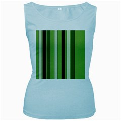 Greenery Stripes Pattern 8000 Vertical Stripe Shades Of Spring Green Color Women s Baby Blue Tank Top