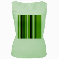 Greenery Stripes Pattern 8000 Vertical Stripe Shades Of Spring Green Color Women s Green Tank Top