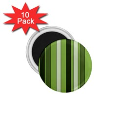 Greenery Stripes Pattern 8000 Vertical Stripe Shades Of Spring Green Color 1.75  Magnets (10 pack)