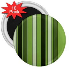 Greenery Stripes Pattern 8000 Vertical Stripe Shades Of Spring Green Color 3  Magnets (10 pack)