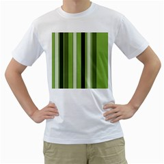 Greenery Stripes Pattern 8000 Vertical Stripe Shades Of Spring Green Color Men s T-Shirt (White) (Two Sided)
