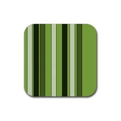Greenery Stripes Pattern 8000 Vertical Stripe Shades Of Spring Green Color Rubber Square Coaster (4 pack)