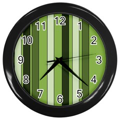 Greenery Stripes Pattern 8000 Vertical Stripe Shades Of Spring Green Color Wall Clocks (Black)