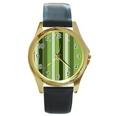 Greenery Stripes Pattern 8000 Vertical Stripe Shades Of Spring Green Color Round Gold Metal Watch