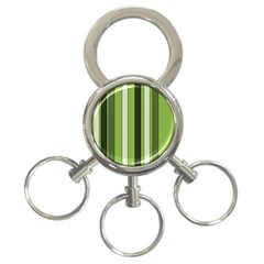Greenery Stripes Pattern 8000 Vertical Stripe Shades Of Spring Green Color 3-Ring Key Chains