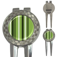 Greenery Stripes Pattern 8000 Vertical Stripe Shades Of Spring Green Color 3-in-1 Golf Divots