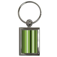 Greenery Stripes Pattern 8000 Vertical Stripe Shades Of Spring Green Color Key Chains (Rectangle)