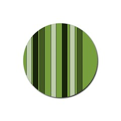 Greenery Stripes Pattern 8000 Vertical Stripe Shades Of Spring Green Color Rubber Round Coaster (4 pack)