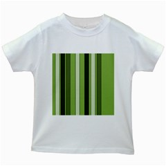 Greenery Stripes Pattern 8000 Vertical Stripe Shades Of Spring Green Color Kids White T-Shirts