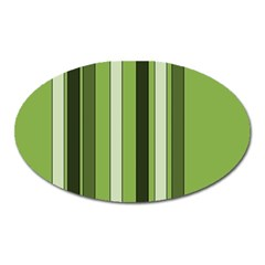 Greenery Stripes Pattern 8000 Vertical Stripe Shades Of Spring Green Color Oval Magnet