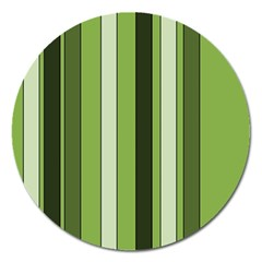 Greenery Stripes Pattern 8000 Vertical Stripe Shades Of Spring Green Color Magnet 5  (Round)