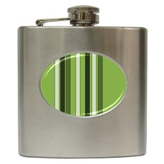 Greenery Stripes Pattern 8000 Vertical Stripe Shades Of Spring Green Color Hip Flask (6 oz)
