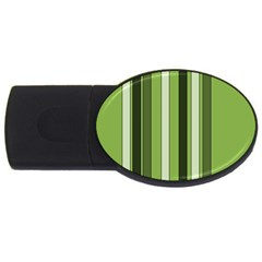 Greenery Stripes Pattern 8000 Vertical Stripe Shades Of Spring Green Color USB Flash Drive Oval (1 GB)
