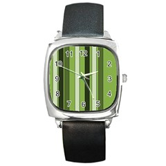 Greenery Stripes Pattern 8000 Vertical Stripe Shades Of Spring Green Color Square Metal Watch