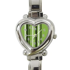 Greenery Stripes Pattern 8000 Vertical Stripe Shades Of Spring Green Color Heart Italian Charm Watch