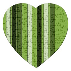 Greenery Stripes Pattern 8000 Vertical Stripe Shades Of Spring Green Color Jigsaw Puzzle (Heart)