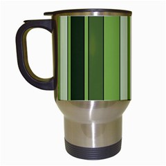 Greenery Stripes Pattern 8000 Vertical Stripe Shades Of Spring Green Color Travel Mugs (White)