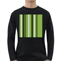 Greenery Stripes Pattern 8000 Vertical Stripe Shades Of Spring Green Color Long Sleeve Dark T-Shirts