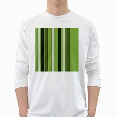 Greenery Stripes Pattern 8000 Vertical Stripe Shades Of Spring Green Color White Long Sleeve T-Shirts