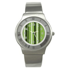 Greenery Stripes Pattern 8000 Vertical Stripe Shades Of Spring Green Color Stainless Steel Watch