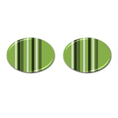 Greenery Stripes Pattern 8000 Vertical Stripe Shades Of Spring Green Color Cufflinks (Oval)