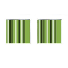 Greenery Stripes Pattern 8000 Vertical Stripe Shades Of Spring Green Color Cufflinks (Square)