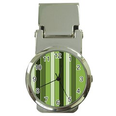 Greenery Stripes Pattern 8000 Vertical Stripe Shades Of Spring Green Color Money Clip Watches