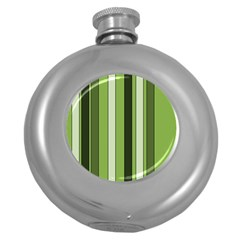 Greenery Stripes Pattern 8000 Vertical Stripe Shades Of Spring Green Color Round Hip Flask (5 oz)