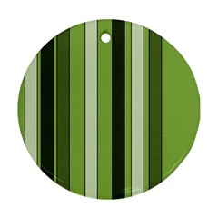Greenery Stripes Pattern 8000 Vertical Stripe Shades Of Spring Green Color Round Ornament (Two Sides)