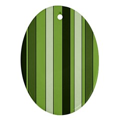 Greenery Stripes Pattern 8000 Vertical Stripe Shades Of Spring Green Color Oval Ornament (Two Sides)