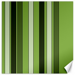 Greenery Stripes Pattern 8000 Vertical Stripe Shades Of Spring Green Color Canvas 16  x 16
