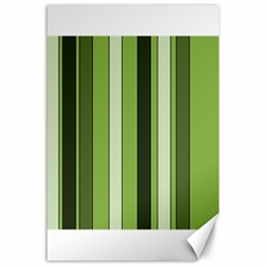 Greenery Stripes Pattern 8000 Vertical Stripe Shades Of Spring Green Color Canvas 24  x 36