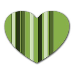 Greenery Stripes Pattern 8000 Vertical Stripe Shades Of Spring Green Color Heart Mousepads