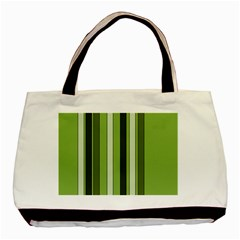 Greenery Stripes Pattern 8000 Vertical Stripe Shades Of Spring Green Color Basic Tote Bag (Two Sides)