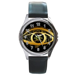 Virus Computer Encryption Trojan Round Metal Watch