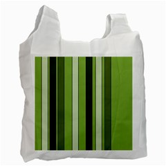 Greenery Stripes Pattern 8000 Vertical Stripe Shades Of Spring Green Color Recycle Bag (One Side)