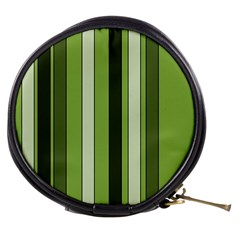 Greenery Stripes Pattern 8000 Vertical Stripe Shades Of Spring Green Color Mini Makeup Bags